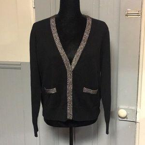 Liz Claiborne Black & Silver Chain Detail Cardigan
